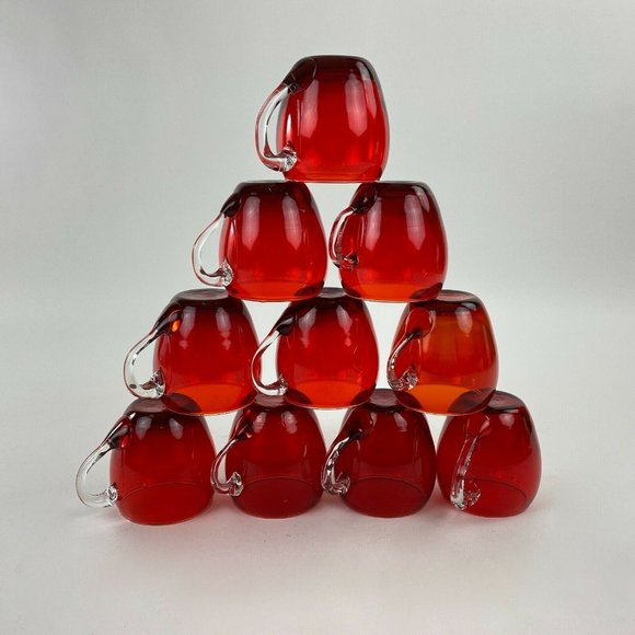 Ruby Red Punch Bowl Glasses Coffee Tea Cups 10